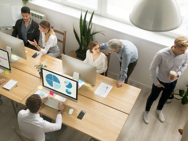 People working in an office at desks with computers.