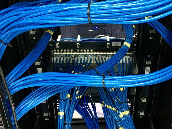 Server cabinet with network cables organized.