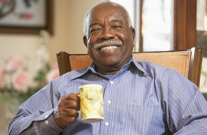Happy elderly man without glasses