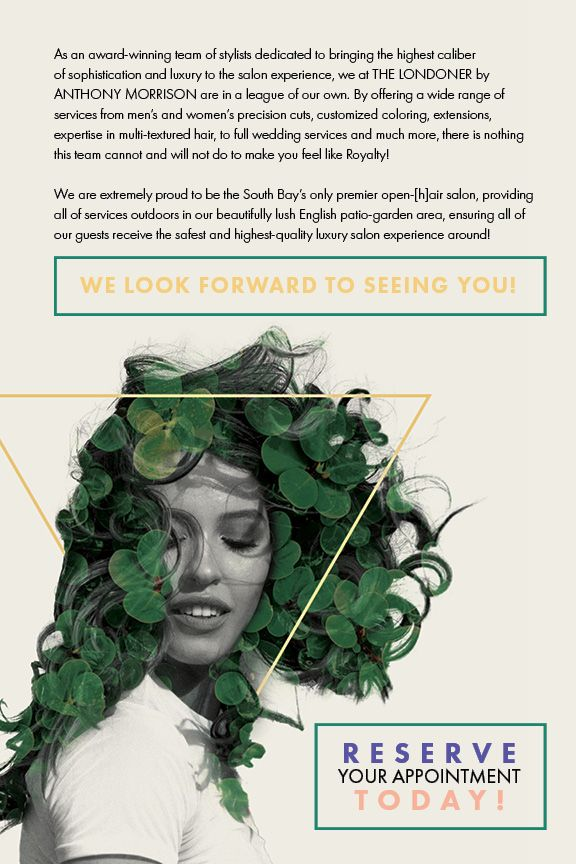 Flyer depicting a woman with black and green hair and outlining what makes THE LONDONER in Hermosa Beach the area's best hair salon.