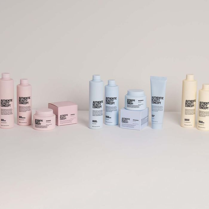 Pastel pink, blue, and yellow products from Authentic Beauty Concept.