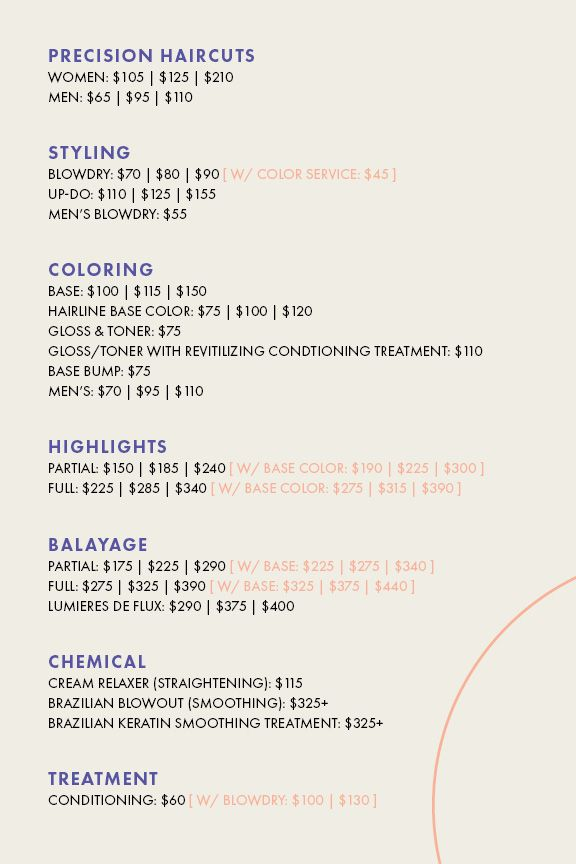 Flyer outlining the prices of haircuts, styling, coloring, highlights, balayage, chemical treatments, and conditioning treatment at THE LONDER in Hermosa Beach.