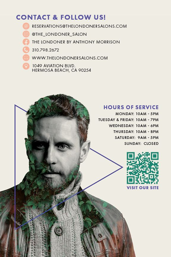 Flyer featuring a man covered in vines along with THE LONDONER's social media accounts and hours of service.