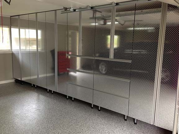Geneva garage cabinets that resemble stainless steel.