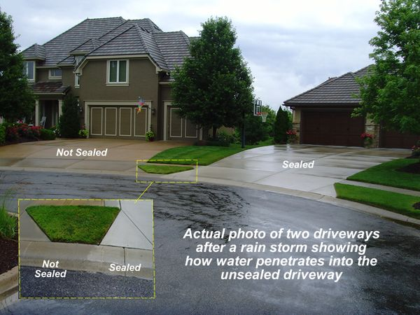 Two driveways after a rain storm