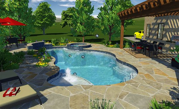 A 3D rendering of a custom pool design.