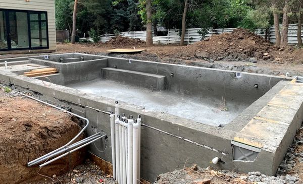 A residential pool installation in progress.