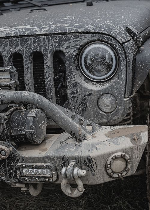 Jeep Grille Covered in Mud