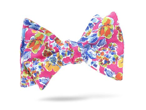 Bright pink, floral bow tie made of silk