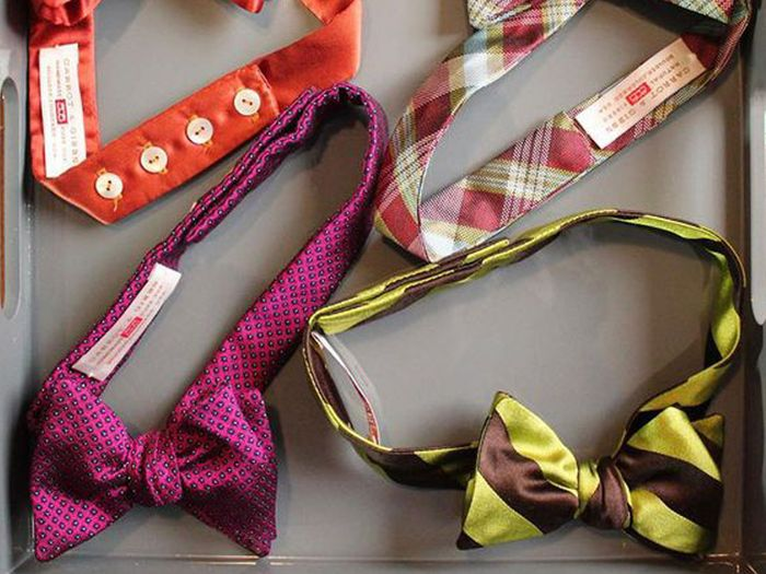 A picture of colorful bow ties for men
