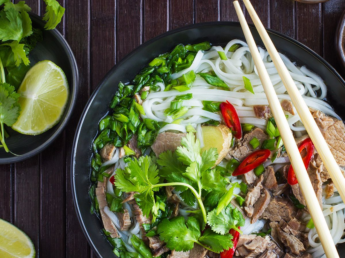 Pho with beef and rice noodles.