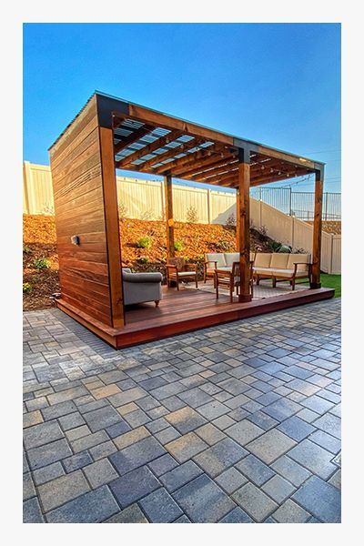 Image of a new pergola with pavers