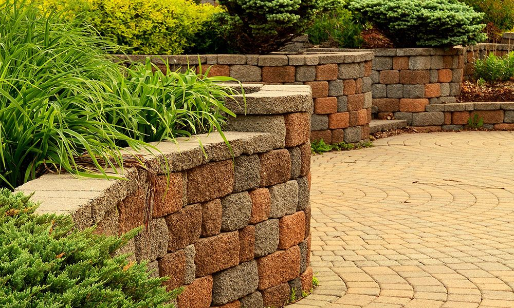 Retaining wall filled with plants with patio made of pavers.