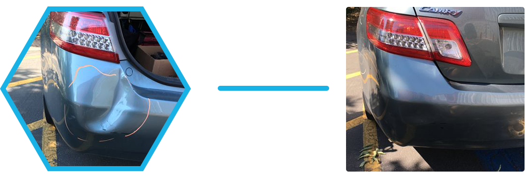 Image of a before and after car dent