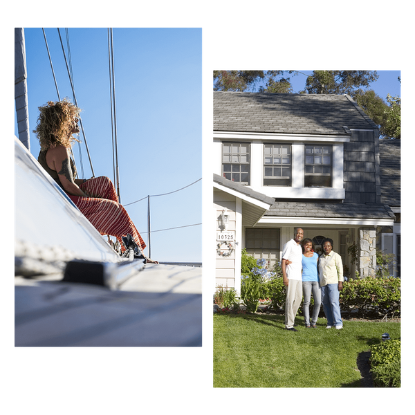 Woman on boat and family in front of their home