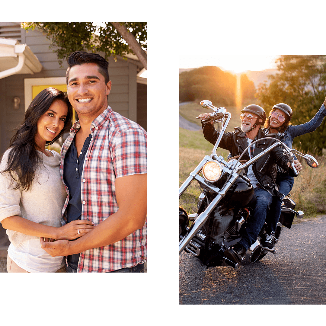 Couple in front of their home and couple on a motorcycle