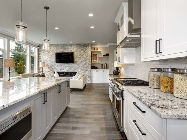 interior shot of a modern house kitchen with large windows