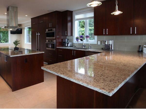 granite countertops with dark cabinets