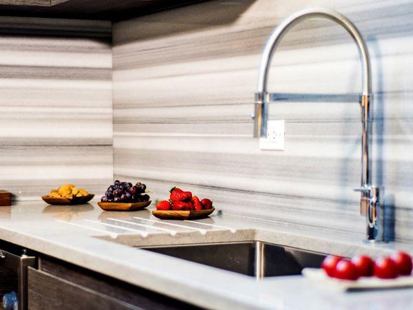white granite countertop with custom cabinets