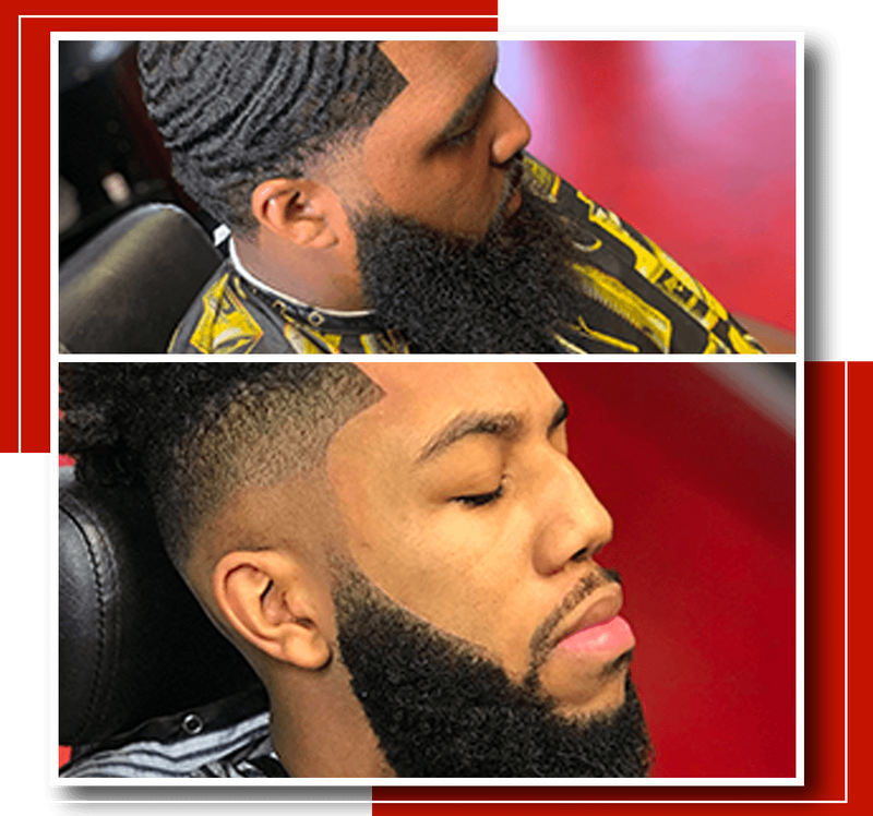 A collage of pictures of men in a grooming lounge