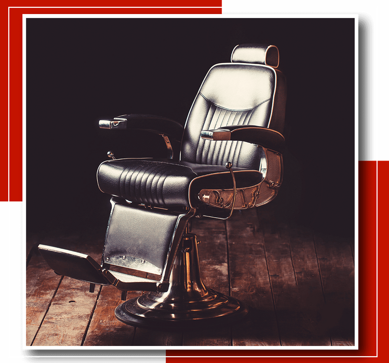 Black and metal barber's chair.