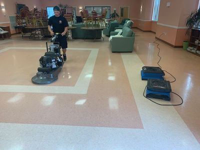 Performing Vinyl Tile Cleaning in Commercial Space