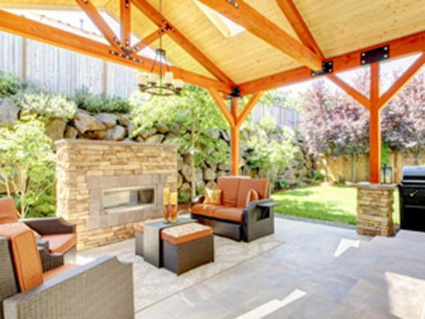 Image of a home patio featuring hardscape design elements.