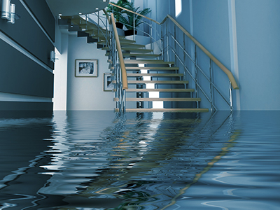 Home hallway flooded with water