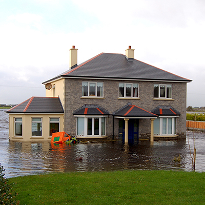 Home in flood water