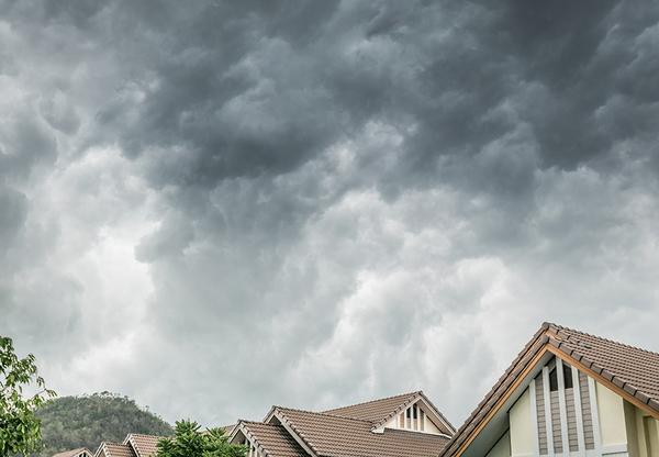 Storm clouds above a neighborhood