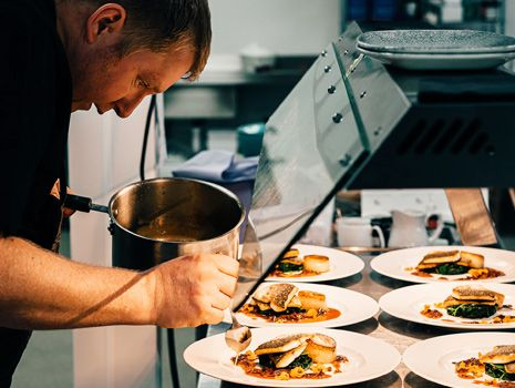 chef plating the food