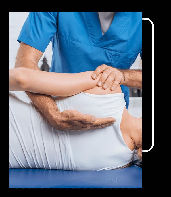 Woman getting chiropractic adjustment.