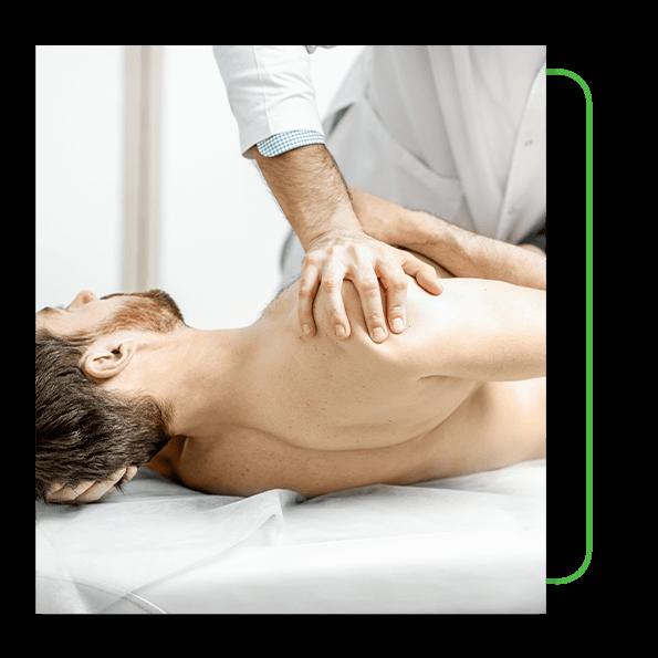 Man getting chiropractic adjustment.