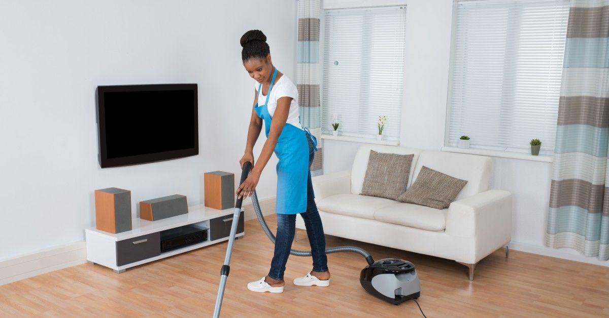 woman cleaning hardwood floors