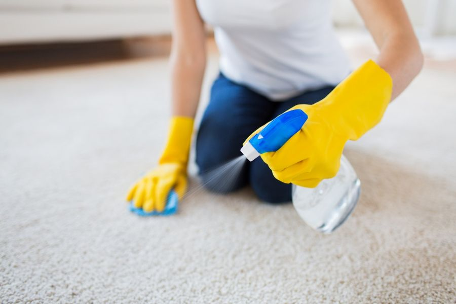 cleaning carpet with spray bottle