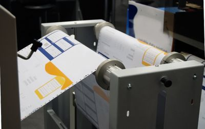 Images of labels being printed at Blair Labeling in Denver.
