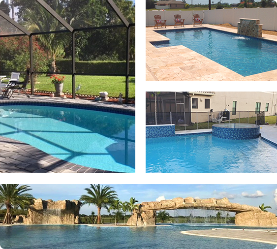 collage of pools we have worked on