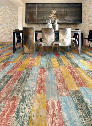 Image of remodeled dining area with colored flooring