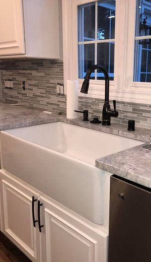 Bathtub style sink with remodeled countertops