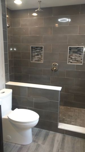 Image of Remodeled Shower with Overhead Shower Nozzle