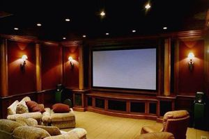 Image of remodeled theater room with furniture
