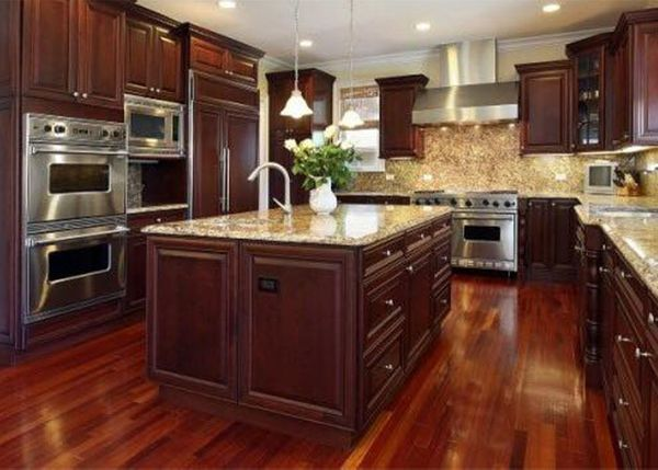 Image of cherry red remodeled kitchen