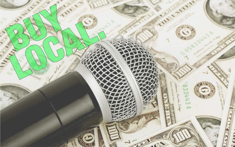 microphone on money. buy local.