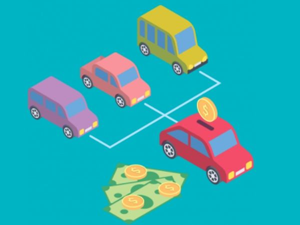 Rideshare driver concept with three cars moving toward one and saving money.