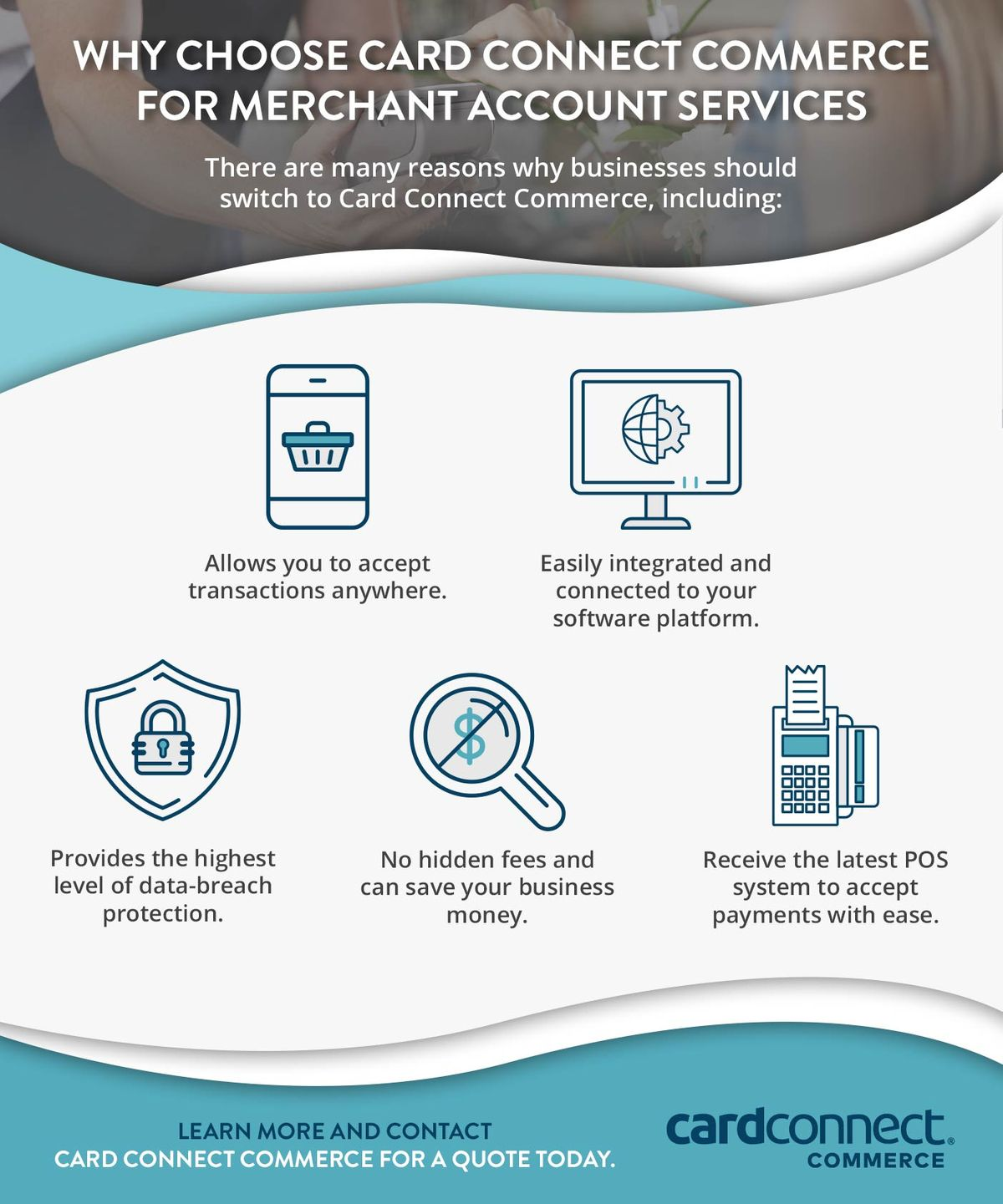 Why Choose Card Connect Commerce For Merchant Account Services Infographic