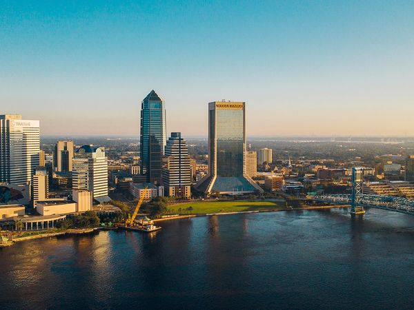 The view of the Jacksonville downtown skyline taken from a drone.