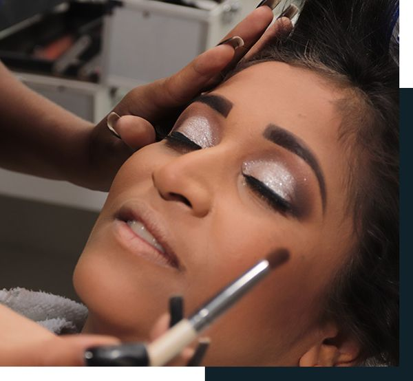 Woman trying out her wedding makeup at a trial appointment