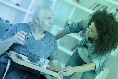 nurse with elderly man