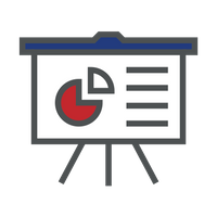 blue and red pie chart icon