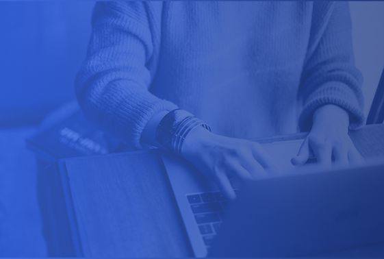 blue gradient overlay person typing